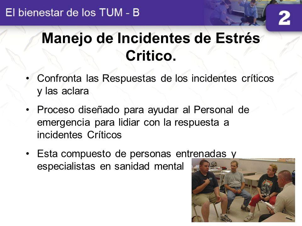 Manejo de Incidentes de Estrés Critico. Confronta las Respuestas de los incidentes críticos y las aclara Proceso diseñado para ayudar al Personal de e