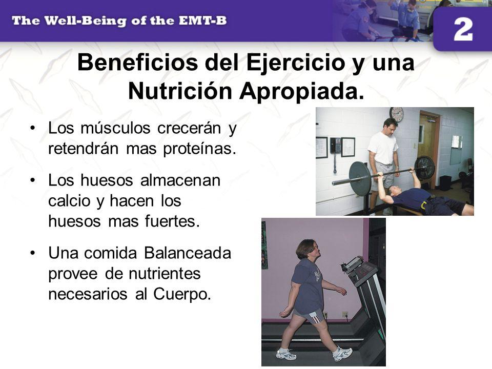 Beneficios del Ejercicio y una Nutrición Apropiada. Los músculos crecerán y retendrán mas proteínas. Los huesos almacenan calcio y hacen los huesos ma