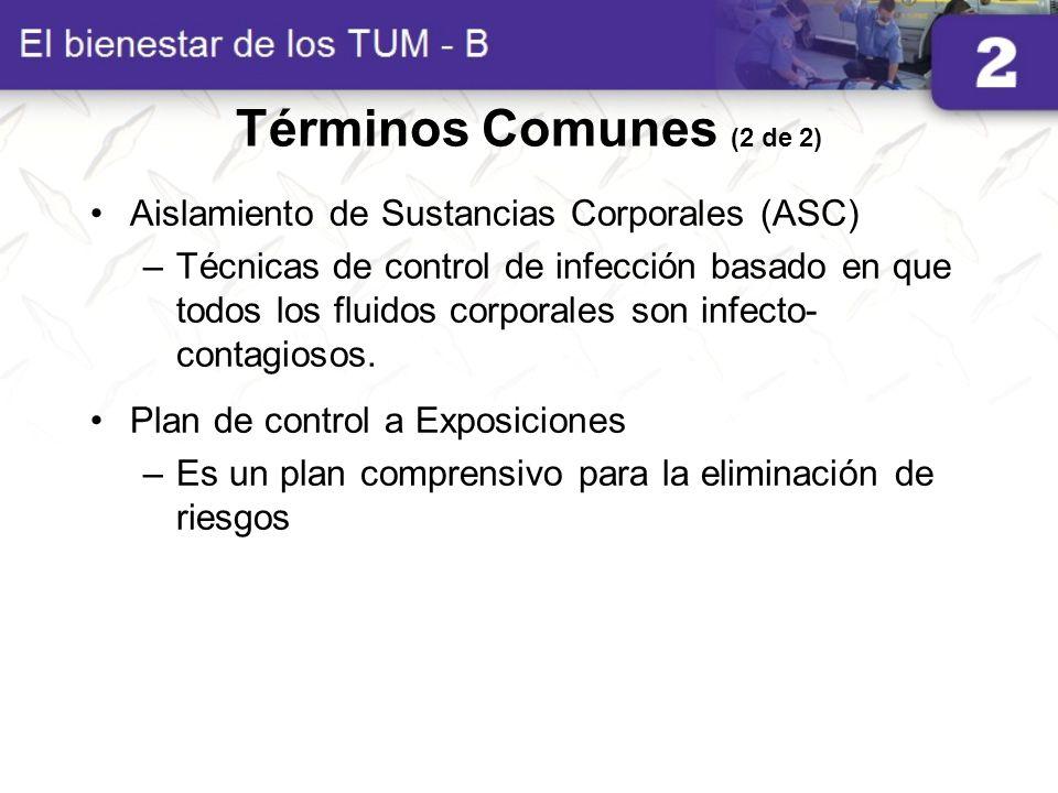 Términos Comunes (2 de 2) Aislamiento de Sustancias Corporales (ASC) –Técnicas de control de infección basado en que todos los fluidos corporales son