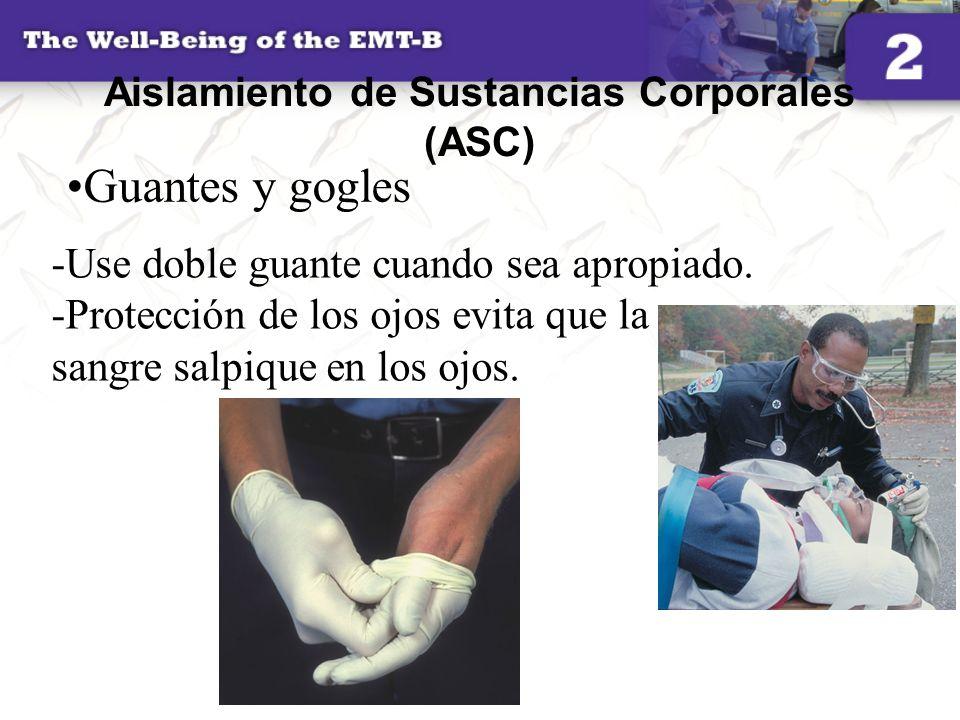 Aislamiento de Sustancias Corporales (ASC) Guantes y gogles -Use doble guante cuando sea apropiado. -Protección de los ojos evita que la sangre salpiq