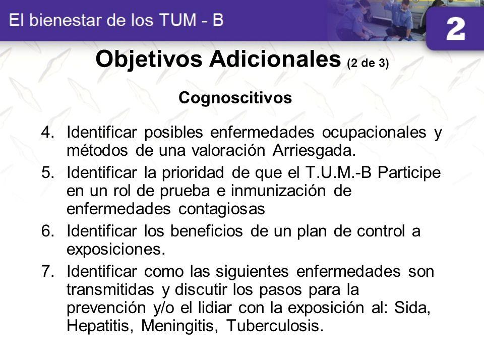 Objetivos Adicionales (2 de 3) 4.Identificar posibles enfermedades ocupacionales y métodos de una valoración Arriesgada. 5.Identificar la prioridad de