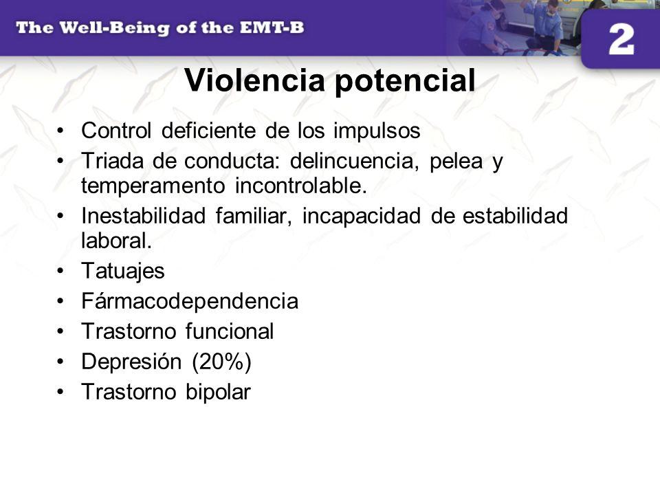 Violencia potencial Control deficiente de los impulsos Triada de conducta: delincuencia, pelea y temperamento incontrolable. Inestabilidad familiar, i