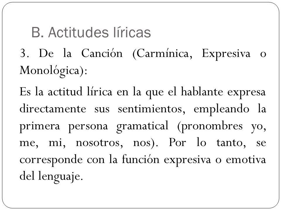 B. Actitudes líricas 3. De la Canción (Carmínica, Expresiva o Monológica): Es la actitud lírica en la que el hablante expresa directamente sus sentimi