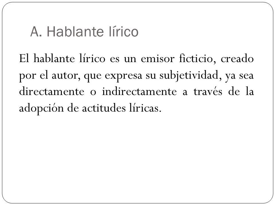 A. Hablante lírico El hablante lírico es un emisor ficticio, creado por el autor, que expresa su subjetividad, ya sea directamente o indirectamente a