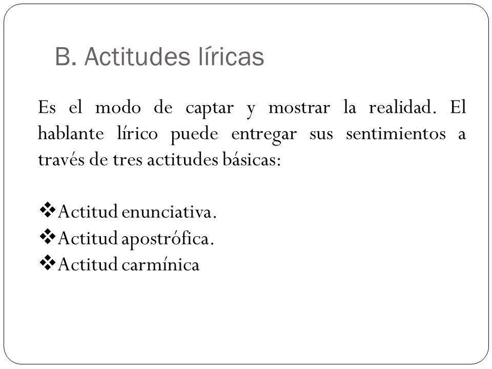 B. Actitudes líricas Es el modo de captar y mostrar la realidad. El hablante lírico puede entregar sus sentimientos a través de tres actitudes básicas