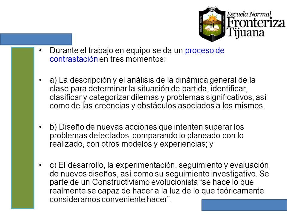 Durante el trabajo en equipo se da un proceso de contrastación en tres momentos: a) La descripción y el análisis de la dinámica general de la clase pa