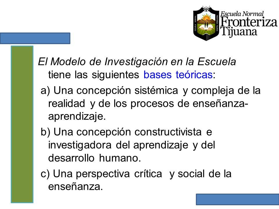 El Modelo de Investigación en la Escuela tiene las siguientes bases teóricas: a) Una concepción sistémica y compleja de la realidad y de los procesos