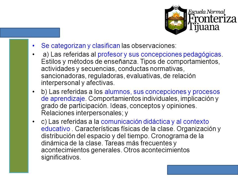 Se categorizan y clasifican las observaciones: a) Las referidas al profesor y sus concepciones pedagógicas. Estilos y métodos de enseñanza. Tipos de c