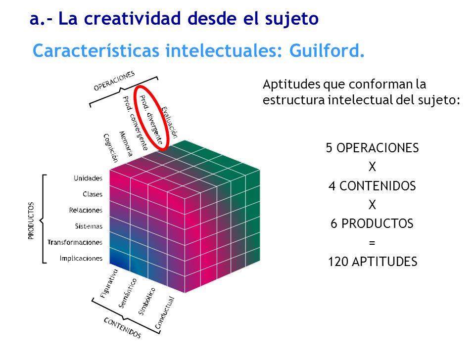Características intelectuales: Guilford. a.- La creatividad desde el sujeto 5 OPERACIONES X 4 CONTENIDOS X 6 PRODUCTOS = 120 APTITUDES Aptitudes que c