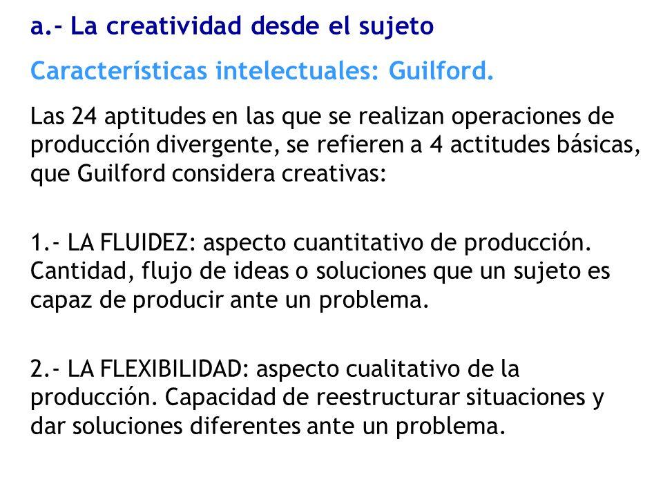 Las 24 aptitudes en las que se realizan operaciones de producción divergente, se refieren a 4 actitudes básicas, que Guilford considera creativas: 1.-