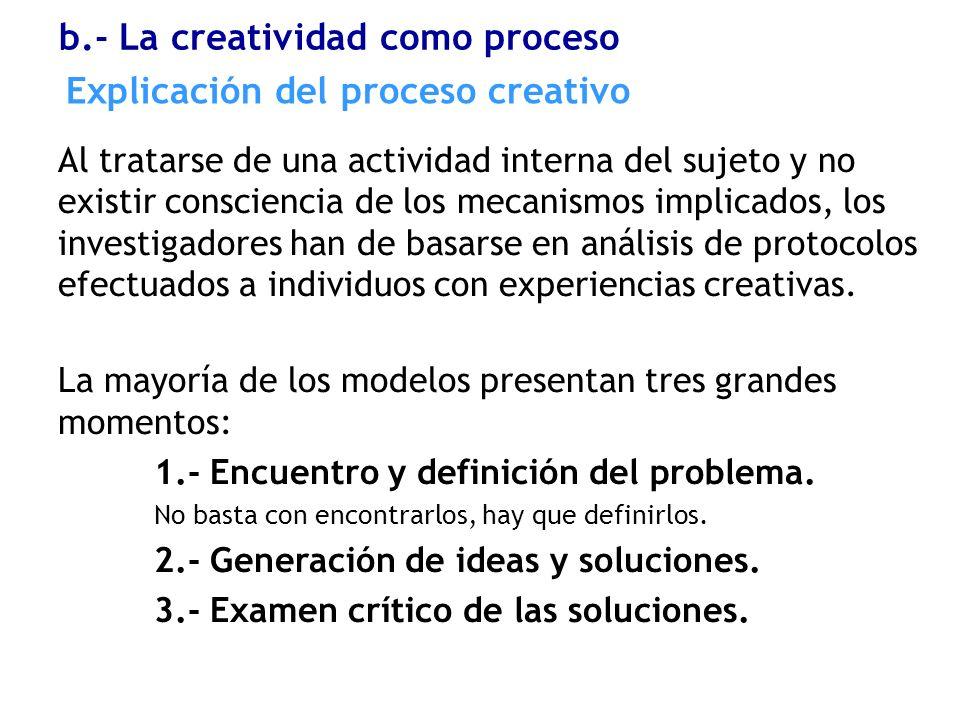 Explicación del proceso creativo Al tratarse de una actividad interna del sujeto y no existir consciencia de los mecanismos implicados, los investigad