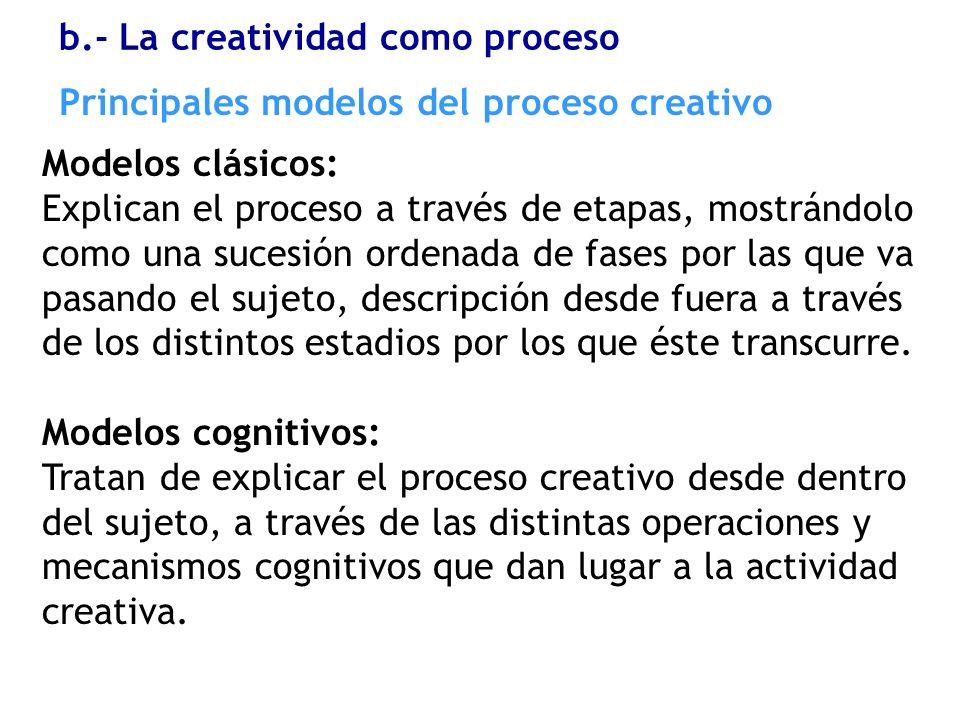 Principales modelos del proceso creativo Modelos clásicos: Explican el proceso a través de etapas, mostrándolo como una sucesión ordenada de fases por