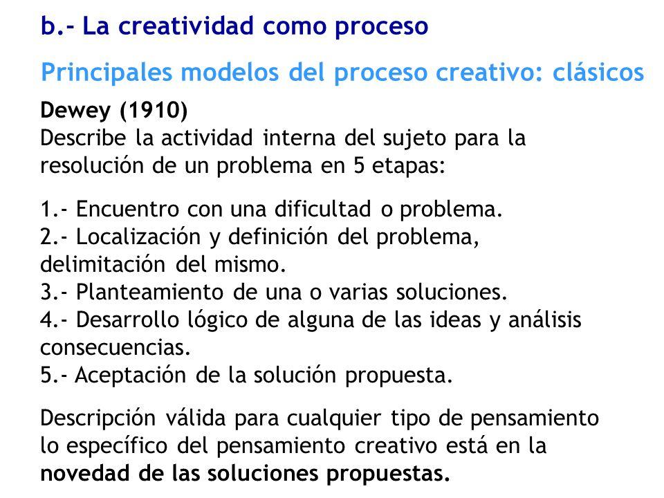 Dewey (1910) Describe la actividad interna del sujeto para la resolución de un problema en 5 etapas: 1.- Encuentro con una dificultad o problema. 2.-