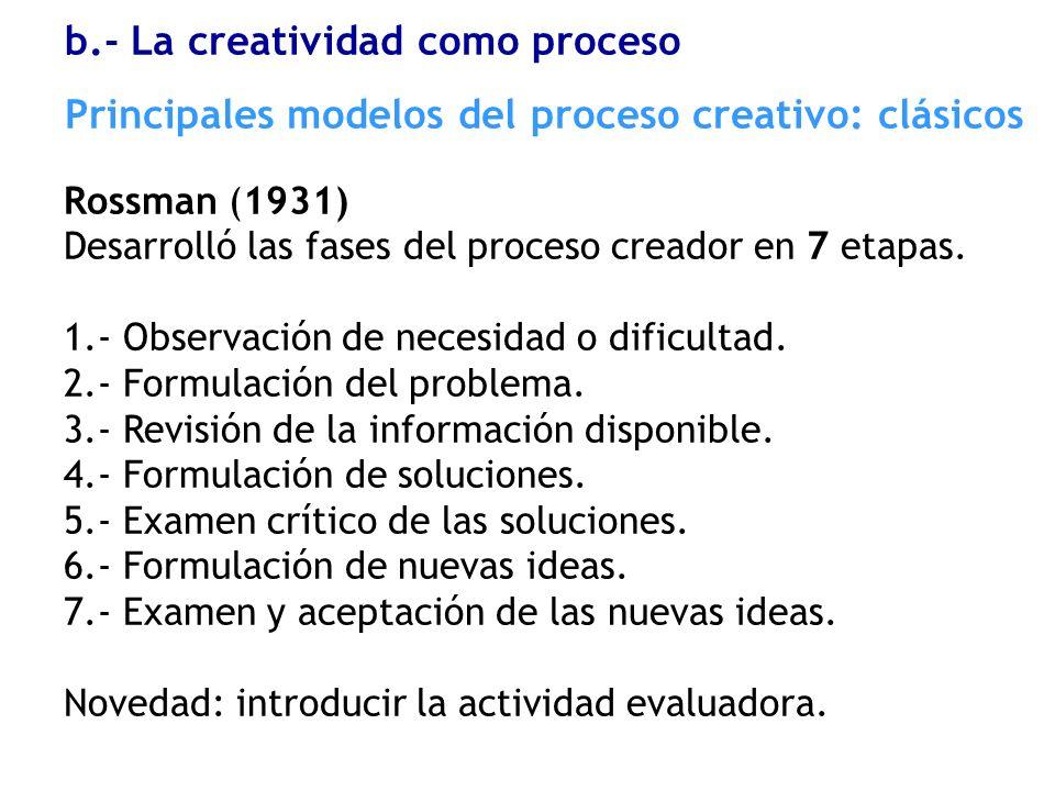 Rossman (1931) Desarrolló las fases del proceso creador en 7 etapas. 1.- Observación de necesidad o dificultad. 2.- Formulación del problema. 3.- Revi