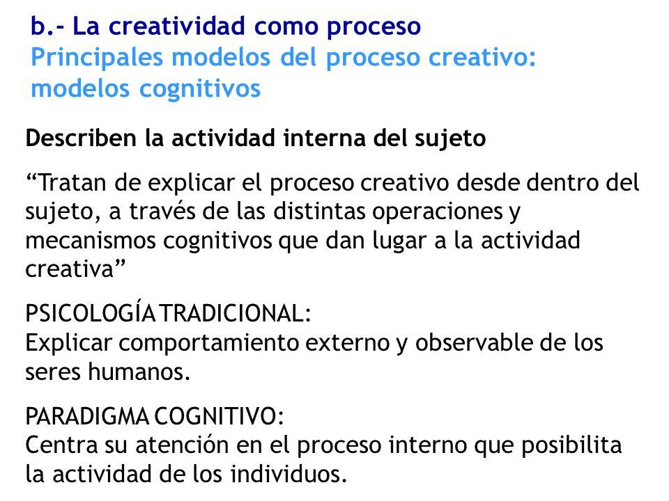 Describen la actividad interna del sujeto Tratan de explicar el proceso creativo desde dentro del sujeto, a través de las distintas operaciones y meca