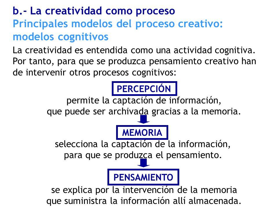La creatividad es entendida como una actividad cognitiva. Por tanto, para que se produzca pensamiento creativo han de intervenir otros procesos cognit