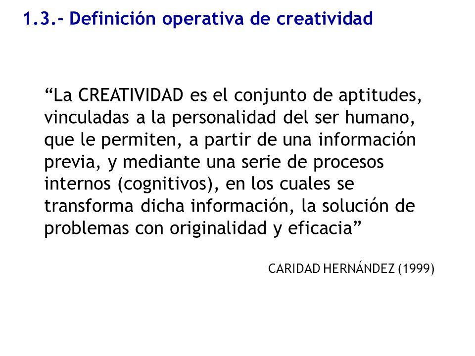 1.3.- Definición operativa de creatividad La CREATIVIDAD es el conjunto de aptitudes, vinculadas a la personalidad del ser humano, que le permiten, a