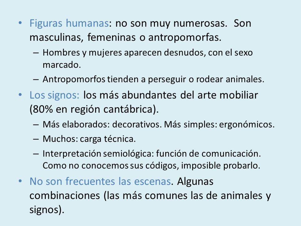 Figuras humanas: no son muy numerosas. Son masculinas, femeninas o antropomorfas. – Hombres y mujeres aparecen desnudos, con el sexo marcado. – Antrop