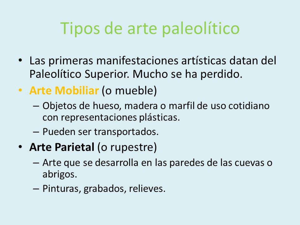 Tipos de arte paleolítico Las primeras manifestaciones artísticas datan del Paleolítico Superior. Mucho se ha perdido. Arte Mobiliar (o mueble) – Obje