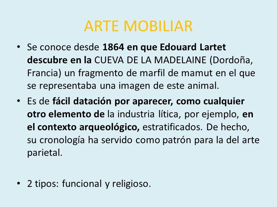 ARTE MOBILIAR Se conoce desde 1864 en que Edouard Lartet descubre en la CUEVA DE LA MADELAINE (Dordoña, Francia) un fragmento de marfil de mamut en el