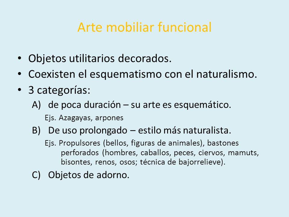 Arte mobiliar funcional Objetos utilitarios decorados. Coexisten el esquematismo con el naturalismo. 3 categorías: A)de poca duración – su arte es esq