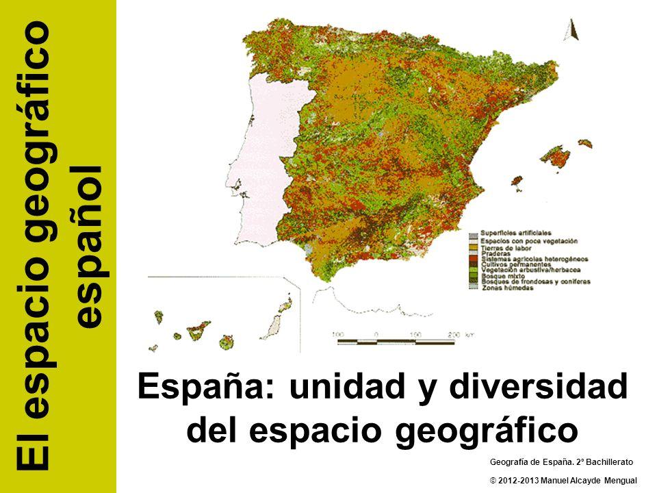 España: unidad y diversidad del espacio geográfico El espacio geográfico español Geografía de España. 2º Bachillerato © 2012-2013 Manuel Alcayde Mengu