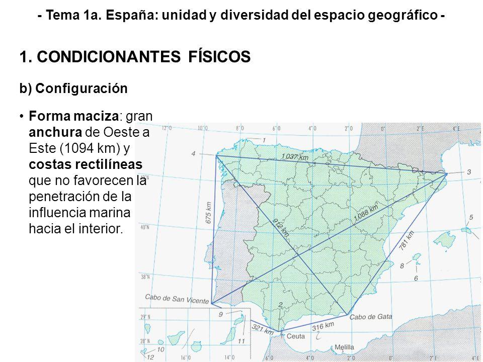b) Configuración 1. CONDICIONANTES FÍSICOS - Tema 1a. España: unidad y diversidad del espacio geográfico - Forma maciza: gran anchura de Oeste a Este
