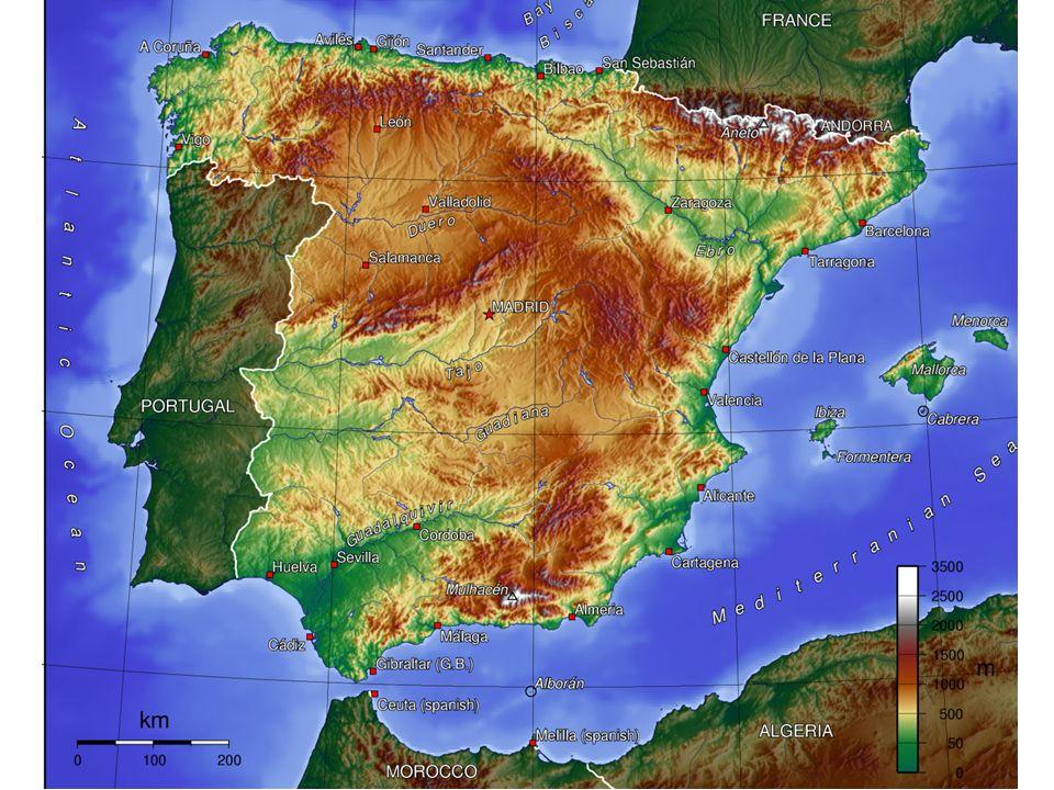 b) Configuración 1. CONDICIONANTES FÍSICOS - Tema 1a. España: unidad y diversidad del espacio geográfico - Elevada altitud media (660 m), debida a las