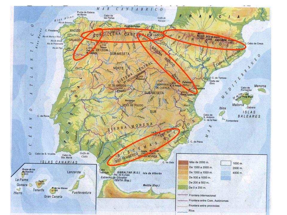 b) Configuración 1. CONDICIONANTES FÍSICOS - Tema 1a. España: unidad y diversidad del espacio geográfico - Disposición periférica del relieve montaños