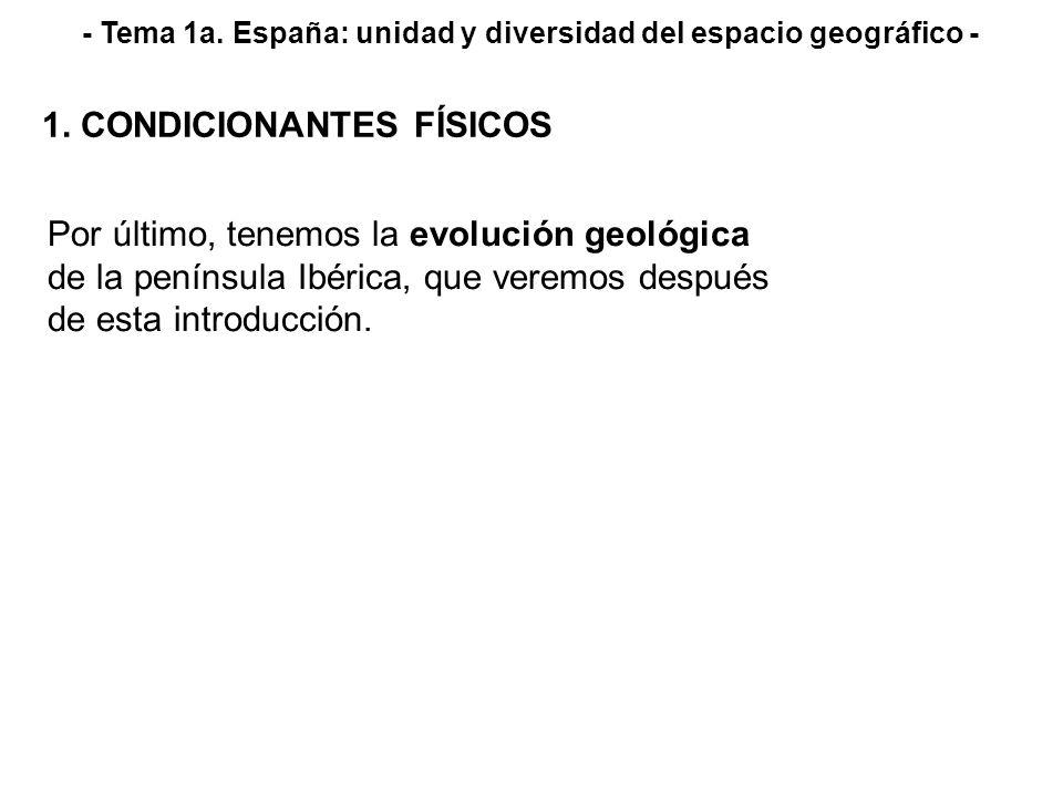 Por último, tenemos la evolución geológica de la península Ibérica, que veremos después de esta introducción. - Tema 1a. España: unidad y diversidad d