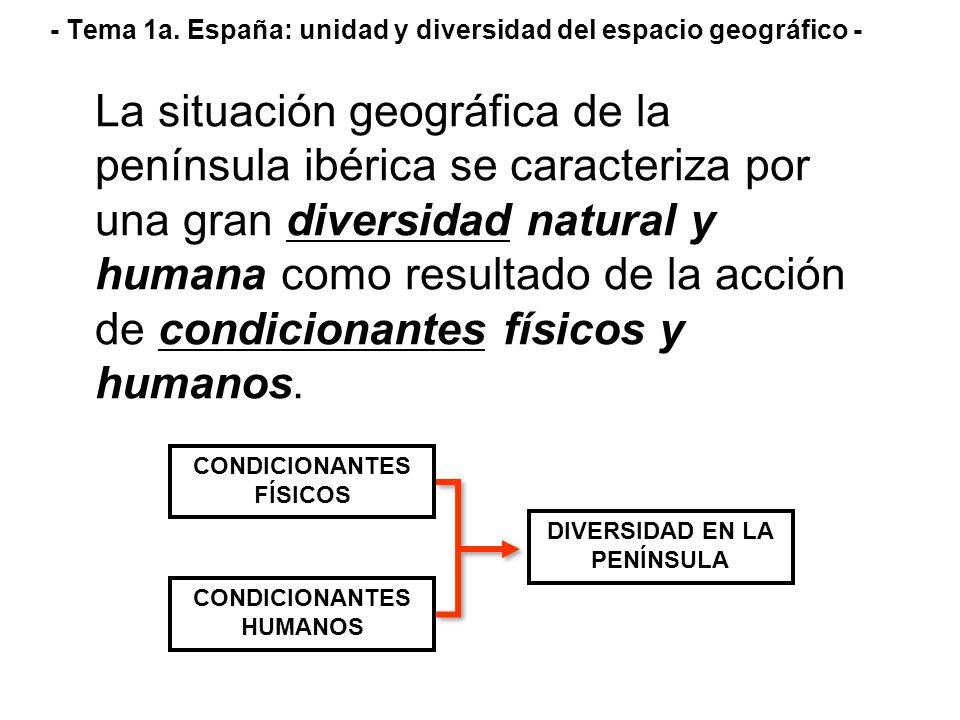 - Tema 1a. España: unidad y diversidad del espacio geográfico - La situación geográfica de la península ibérica se caracteriza por una gran diversidad