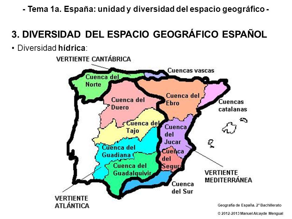 - Tema 1a. España: unidad y diversidad del espacio geográfico - 3. DIVERSIDAD DEL ESPACIO GEOGRÁFICO ESPAÑOL Diversidad hídrica: Geografía de España.