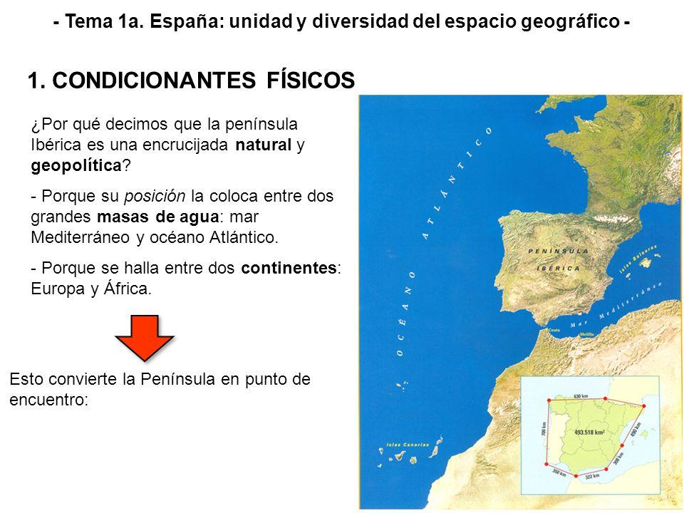 ¿Por qué decimos que la península Ibérica es una encrucijada natural y geopolítica? - Porque su posición la coloca entre dos grandes masas de agua: ma