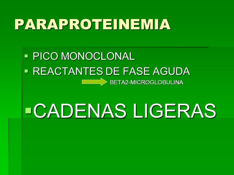 PARAPROTEINEMIA PICO MONOCLONAL PICO MONOCLONAL REACTANTES DE FASE AGUDA REACTANTES DE FASE AGUDA BETA2-MICROGLOBULINA BETA2-MICROGLOBULINA CADENAS LI