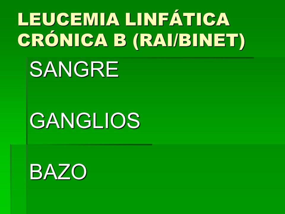 LEUCEMIA LINFÁTICA CRÓNICA B (RAI/BINET) SANGREGANGLIOSBAZO