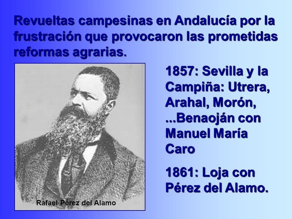 1857: Sevilla y la Campiña: Utrera, Arahal, Morón,...Benaoján con Manuel María Caro 1861: Loja con Pérez del Alamo. Revueltas campesinas en Andalucía