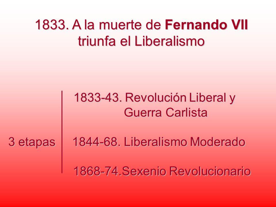 1833. A la muerte de Fernando VII triunfa el Liberalismo 1833-43. Revolución Liberal y 1833-43. Revolución Liberal y Guerra Carlista Guerra Carlista 3