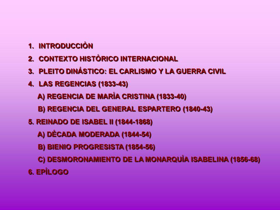 1.INTRODUCCIÓN 2.CONTEXTO HISTÓRICO INTERNACIONAL 3.PLEITO DINÁSTICO: EL CARLISMO Y LA GUERRA CIVIL 4.LAS REGENCIAS (1833-43) A) REGENCIA DE MARÍA CRI