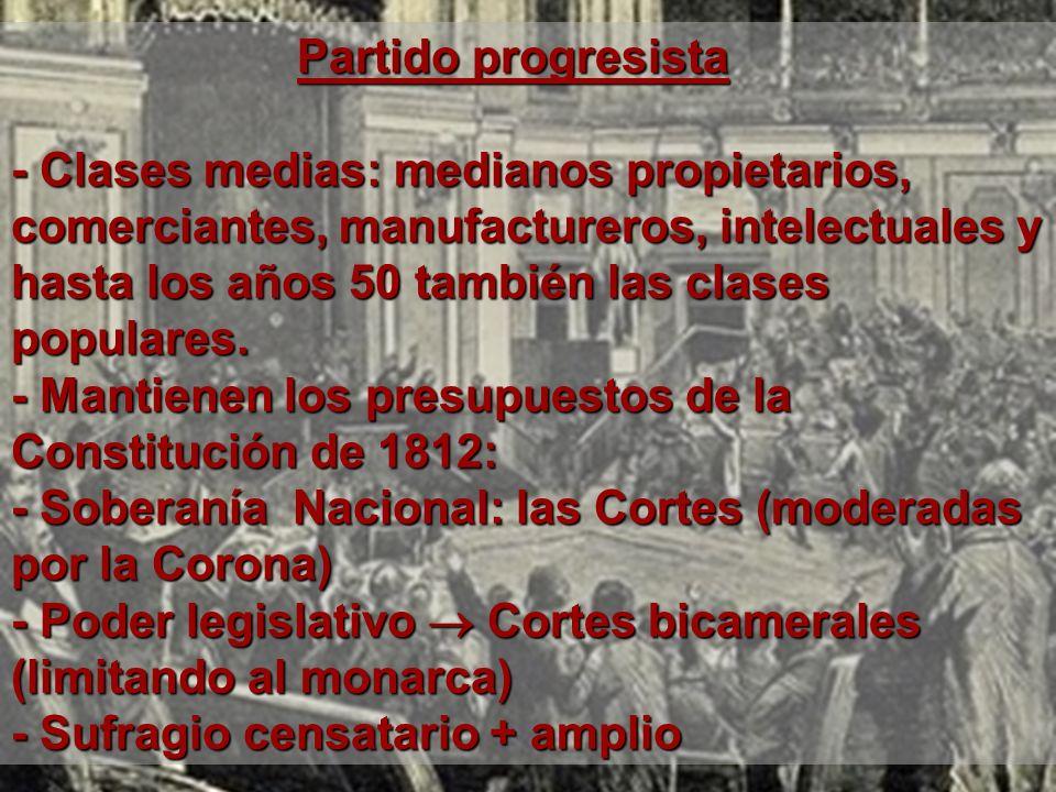 Partido progresista Partido progresista - Clases medias: medianos propietarios, comerciantes, manufactureros, intelectuales y hasta los años 50 tambié