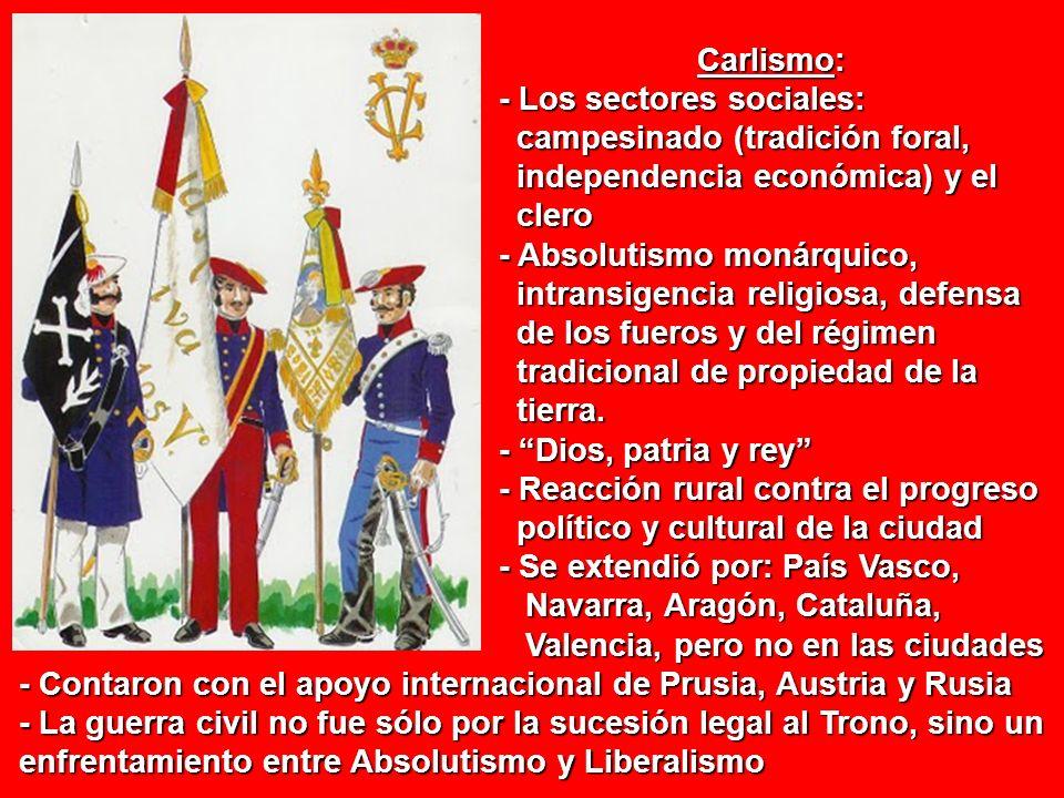 Carlismo: Carlismo: - Los sectores sociales: - Los sectores sociales: campesinado (tradición foral, campesinado (tradición foral, independencia económ