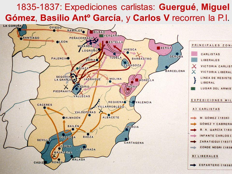 1835-1837: Expediciones carlistas: Guergué, Miguel Gómez, Basilio Antº García, y Carlos V recorren la P.I.