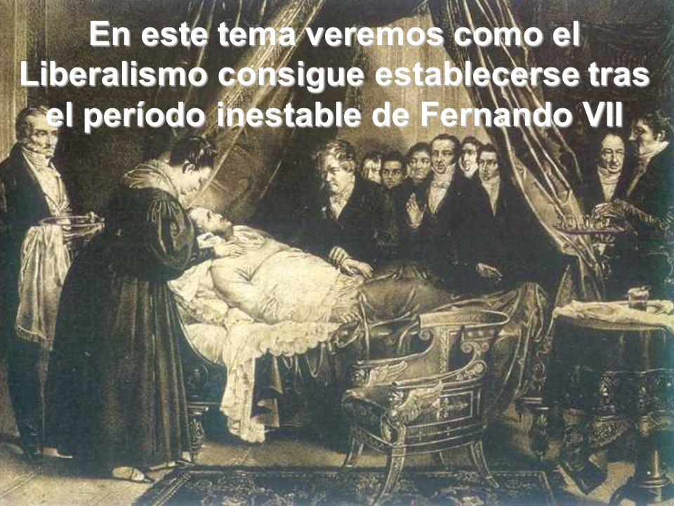 En este tema veremos como el Liberalismo consigue establecerse tras el período inestable de Fernando VII