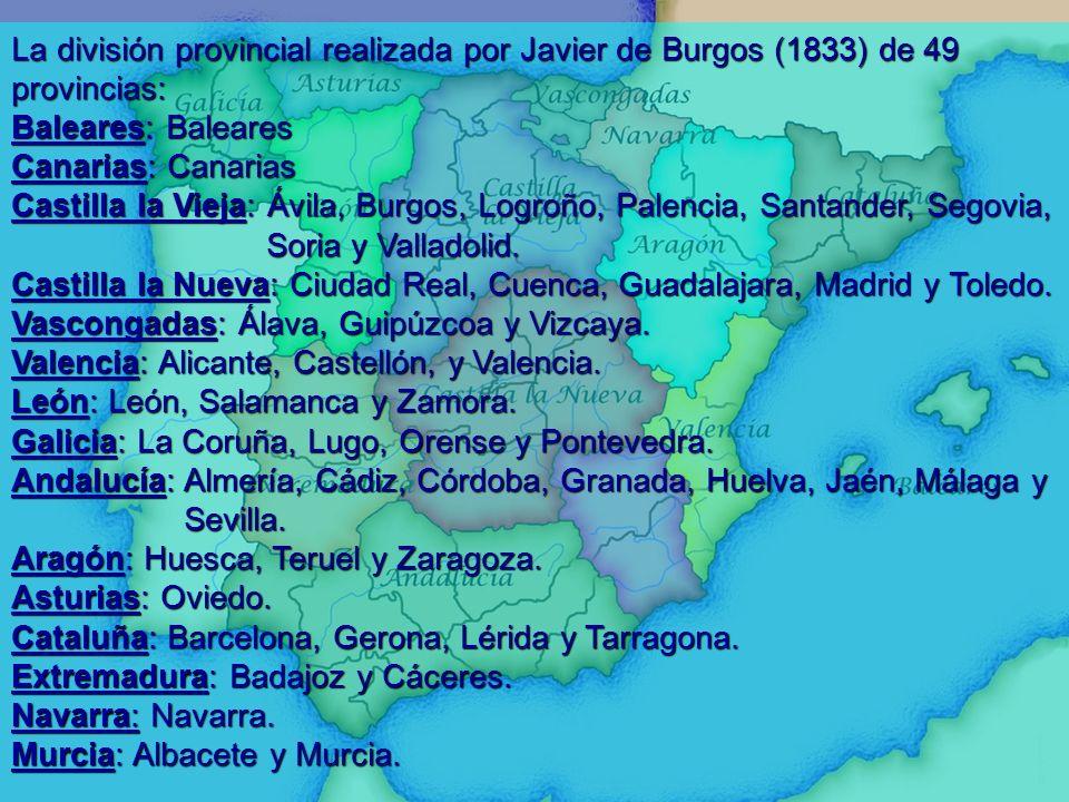 La división provincial realizada por Javier de Burgos (1833) de 49 provincias: Baleares: Baleares Canarias: Canarias Castilla la Vieja: Ávila, Burgos,