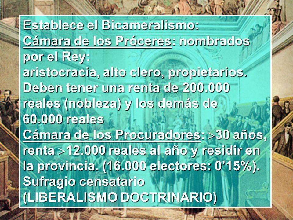 Establece el Bicameralismo: Cámara de los Próceres: nombrados por el Rey: aristocracia, alto clero, propietarios. Deben tener una renta de 200.000 rea
