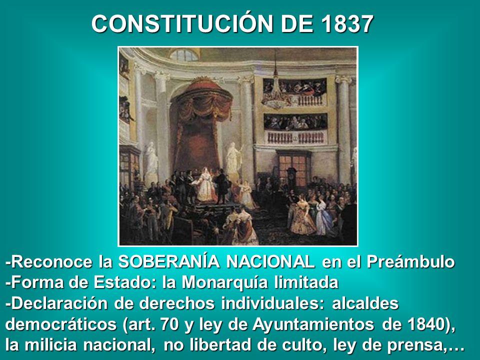 CONSTITUCIÓN DE 1837 -Reconoce la SOBERANÍA NACIONAL en el Preámbulo -Forma de Estado: la Monarquía limitada -Declaración de derechos individuales: al