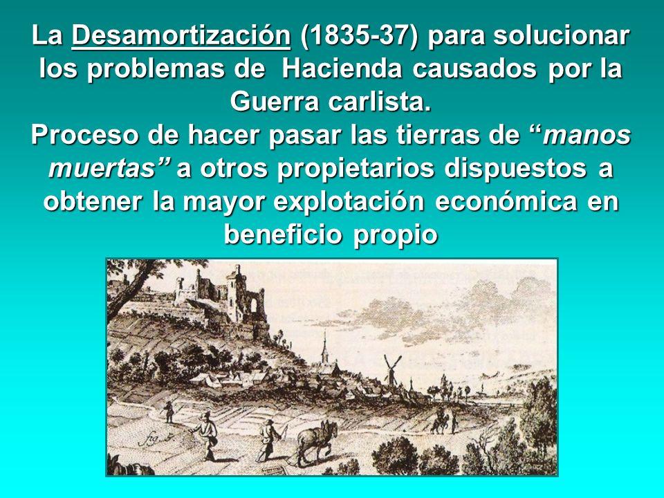 La Desamortización (1835-37) para solucionar los problemas de Hacienda causados por la Guerra carlista. Proceso de hacer pasar las tierras de manos mu
