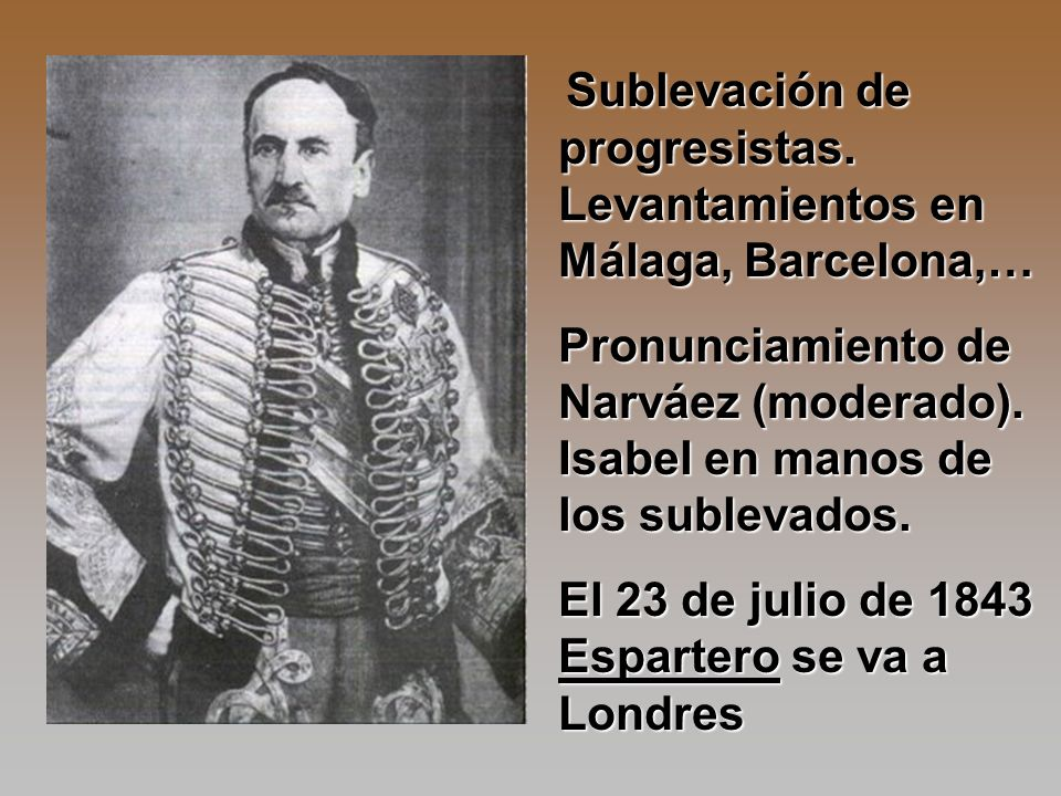 Sublevación de progresistas. Levantamientos en Málaga, Barcelona,… Sublevación de progresistas. Levantamientos en Málaga, Barcelona,… Pronunciamiento