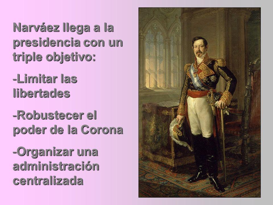Narváez llega a la presidencia con un triple objetivo: -Limitar las libertades -Robustecer el poder de la Corona -Organizar una administración central