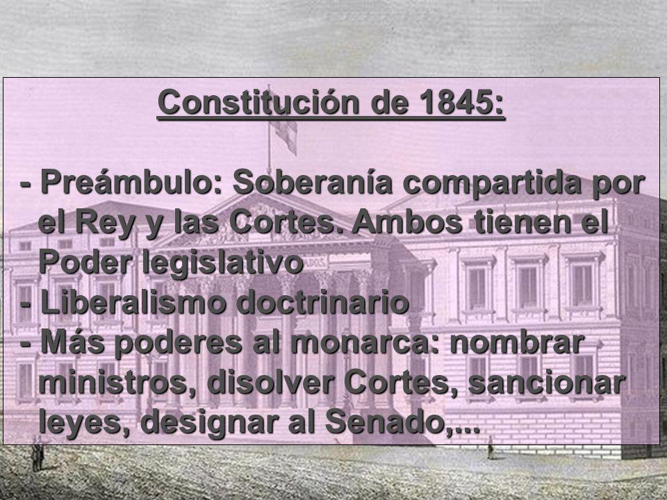 Constitución de 1845: - Preámbulo: Soberanía compartida por - Preámbulo: Soberanía compartida por el Rey y las Cortes. Ambos tienen el el Rey y las Co