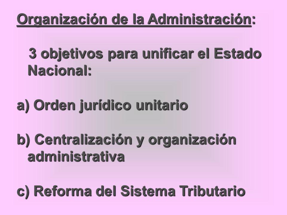Organización de la Administración: 3 objetivos para unificar el Estado Nacional: 3 objetivos para unificar el Estado Nacional: a) Orden jurídico unita
